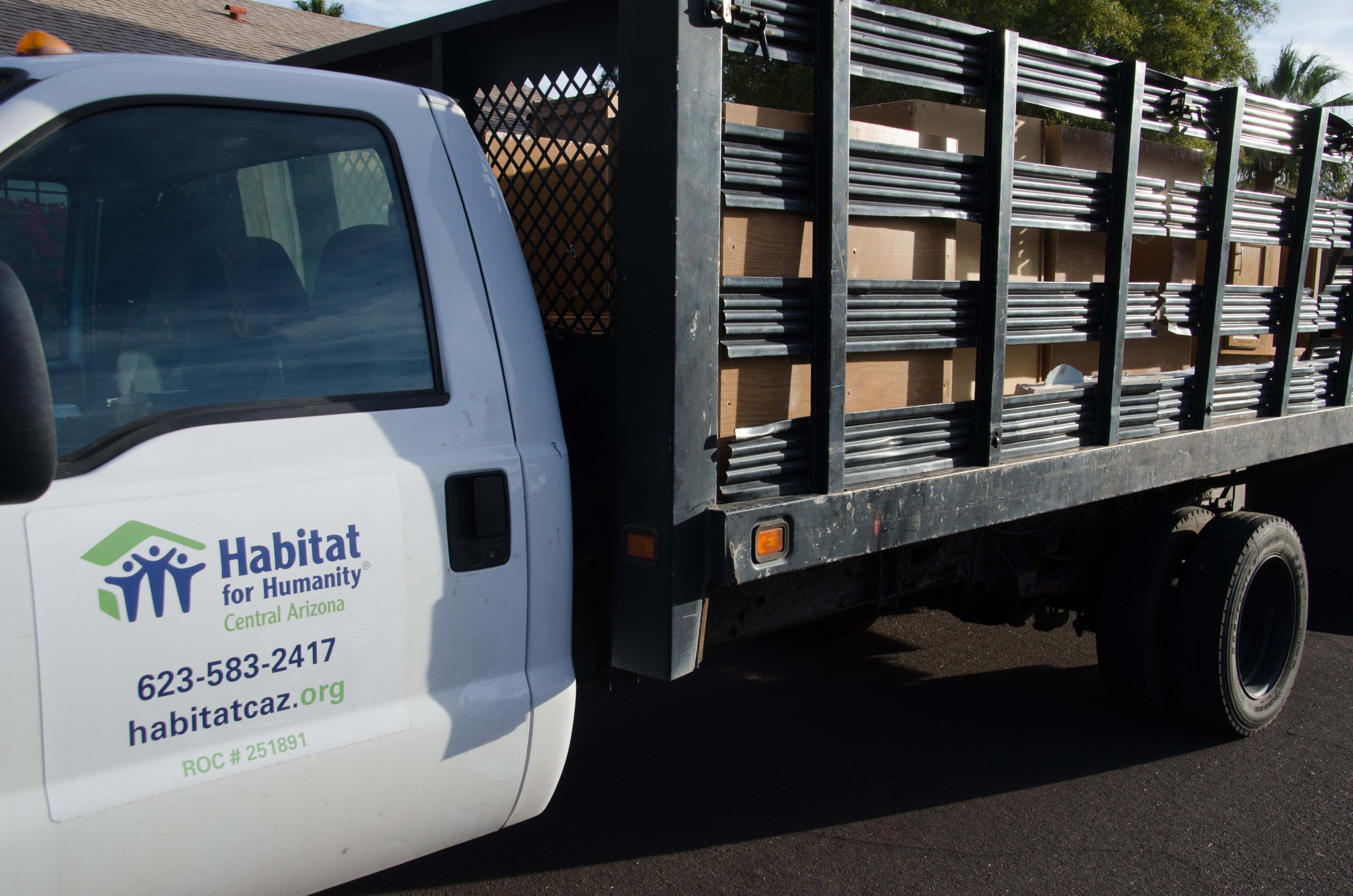 ReStore truck loaded with cabinets